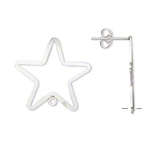 Earstud, Sterling Silver-filled Sterling Silver, 23x22mm Flat Open Star Closed Loop. Sold Per Pair