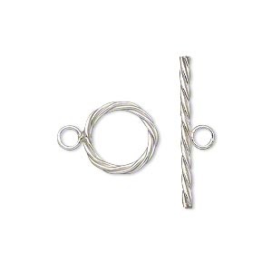Clasp, Toggle, Sterling Silver-filled, 12mm Twisted Round. Sold Individually