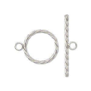 Clasp, Toggle, Sterling Silver-filled, 17mm Twisted Round. Sold Individually