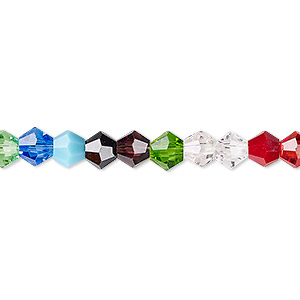 Bead, Celestial Crystal®, Opaque / Translucent / Transparent Multicolored, 6mm Faceted Bicone. Sold Per 16-inch Strand A2272GL
