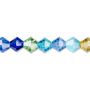 Bead, Celestial Crystal®, Glass, Opaque / Translucent / Transparent Multicolored, 8mm Faceted Bicone. Sold Per 16-inch Strand A2273GL