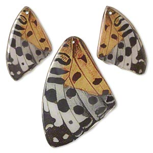Focal, Laminated Wood Paper, White / Black / Yellow, (2) 37x25mm (1) 51x33mm Double-sided Butterfly Wing. Sold Per 3-piece Set