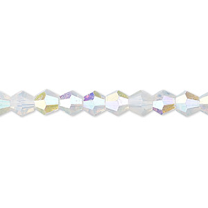 Bead, Celestial Crystal®, Glass, Frosted Transparent Clear AB, 6mm Faceted Bicone. Sold Per 16-inch Strand A2278GL