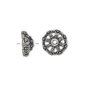 Bead Cap, Antique Silver-plated Brass, 13x6mm Beaded Round, Fits 10-14mm Bead. Sold Per Pkg 8