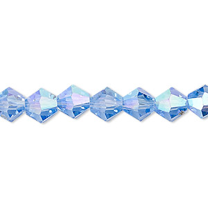 Bead, Celestial Crystal®, Glass, Transparent Light Blue AB, 8mm Faceted Bicone. Sold Per 16-inch Strand A2306GL