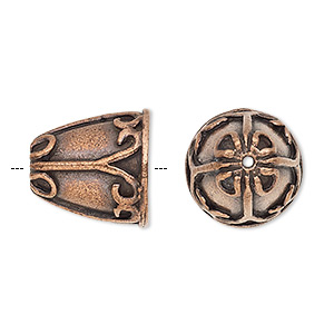 Cone, Antique Copper-plated Pewter (tin-based Alloy), 15.5x15.5mm Fancy Design, Fits 10.5mm Bead. Sold Per Pkg 2