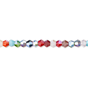 Bead, Celestial Crystal®, Opaque / Translucent / Transparent Multicolored AB, 4mm Faceted Bicone. Sold Per 16-inch Strand A2328GL