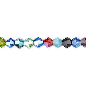 Bead, Celestial Crystal®, Glass, Opaque / Translucent / Transparent Multicolored AB, 6mm Faceted Bicone. Sold Per 16-inch Strand A2329GL