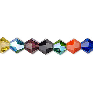 Bead, Celestial Crystal®, Glass, Opaque / Translucent / Transparent Multicolored AB, 8mm Faceted Bicone. Sold Per 16-inch Strand A2330GL