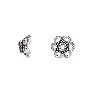 Bead Cap, Antique Silver-plated Brass, 11x5mm Flower, Fits 10-12mm Bead. Sold Per Pkg 12
