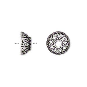 Bead Cap, Antique Silver-plated Brass, 12x5mm Open Star, Fits 10-14mm Bead. Sold Per Pkg 10