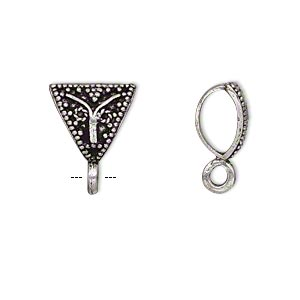 Bail, Antique Silver-plated Brass, 13x11x11mm Single-sided Beaded Triangle Closed Loop, 5.5mm Hole. Sold Per Pkg 4