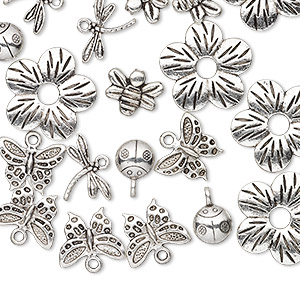 "Bead / Component / Charm, Antique Silver-plated ""pewter"" (zinc-based Alloy), 9x9mm-23x23mm Assorted Single- Double-sided Insect Flower. Sold Per Pkg 25"