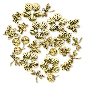 "Bead Charm, Antique Gold-finished ""pewter"" (zinc-based Alloy), 9x9mm-23x23mm Assorted Single- Double-sided Insect Flower. Sold Per Pkg 25"
