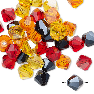 Bead Mix, Celestial Crystal®, Glass, Fire, 7-8mm Faceted Bicone. Sold Per Pkg 40 A2444GL