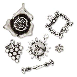 "Component, Antiqued Silver-finished ""pewter"" (zinc-based Alloy), 6.5x4mm-28x23.5mm Assorted Garden Theme. Sold Per 5-piece Set"