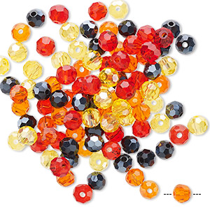 Bead Mix, Celestial Crystal®, Glass, Fire, 4-4.5mm Faceted Round. Sold Per Pkg 100 A2457GL