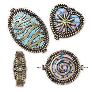 "Bead, Polymer Clay / Glass Rhinestone / Antique Brass-finished ""pewter"" (zinc-based Alloy), Multicolored, 19mm Double-sided Flat Round Swirl Design / 19x17mm Double-sided Flat Heart Flower Design / 27x18mm Double-sided Flat Oval Stripe Design. Sold Per 3"