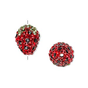 Bead, Brass / Resin / Glass / Egyptian Glass Rhinestone, Light Green / Red / Black, 15x12mm Pavé Strawberry. Sold Individually