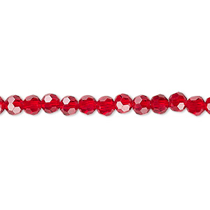 Bead, Celestial Crystal®, 32-facet, Transparent Red, 4mm Faceted Round. Sold Per 16-inch Strand A2501GL