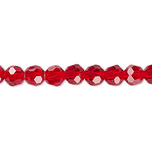 Bead, Celestial Crystal®, 32-facet, Transparent Red, 6mm Faceted Round. Sold Per 16-inch Strand A2502GL