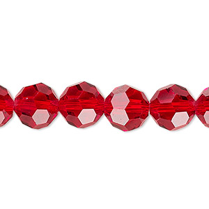 Bead, Celestial Crystal®, 32-facet, Transparent Red, 10mm Faceted Round. Sold Per 16-inch Strand A2504GL