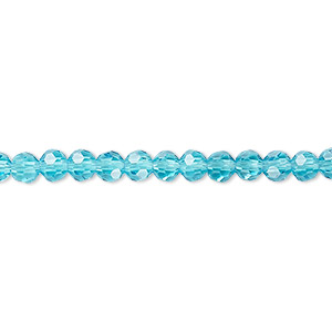 Bead, Celestial Crystal®, 32-facet, Transparent Turquoise Blue, 4mm Faceted Round. Sold Per 16-inch Strand A2545GL