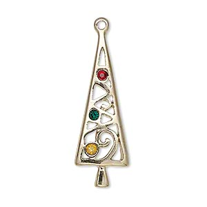 "Charm, Enamel/gold-finished ""pewter"" (zinc-based Alloy) Swarovski® Crystals, Red/green/yellow, 34x11mm Single-sided Christmas Tree. Sold Individually"