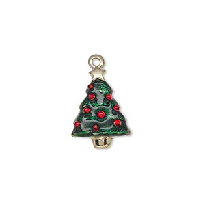"Charm, Enamel Gold-finished ""pewter"" (zinc-based Alloy), Green Red, 18x13mm Single-sided Christmas Tree Star. Sold Individually"