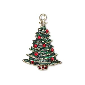 "Charm, Enamel Gold-finished ""pewter"" (zinc-based Alloy), Green Red, 26x20mm Single-sided Christmas Tree Star. Sold Individually"