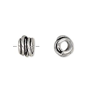 Bead, Antique Silver-plated Brass, 10.5x7mm Tube Overlapping Rings 4.5mm Hole. Sold Per Pkg 4
