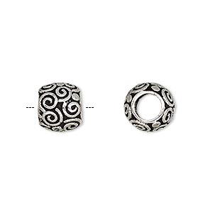 Bead, Antique Silver-plated Brass, 10x9mm Barrel Swirl Design 5mm Hole. Sold Per Pkg 2