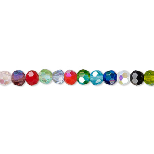 Bead, Celestial Crystal®, Glass, 32-facet, Opaque Transparent Multicolored AB, 4mm Faceted Round. Sold Per 16-inch Strand