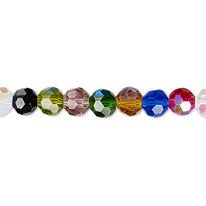 Bead, Celestial Crystal®, Glass, 32-facet, Opaque Transparent Multicolored AB, 6mm Faceted Round. Sold Per 16-inch Strand