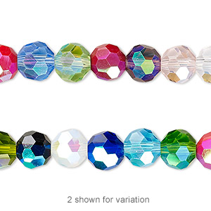 Bead, Celestial Crystal®, 32-facet, Opaque Transparent Multicolored AB, 8mm Faceted Round. Sold Per 16-inch Strand A2643GL