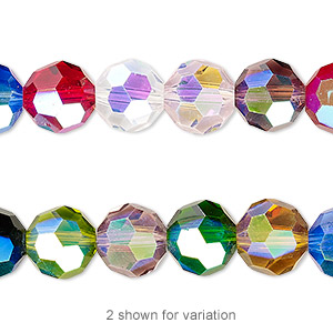 Bead, Celestial Crystal®, Glass, 32-facet, Opaque Transparent Multicolored AB, 10mm Faceted Round. Sold Per 16-inch Strand