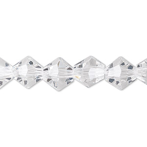 Bead, Celestial Crystal®, Glass, Transparent Clear, 10mm Faceted Bicone. Sold Per 8-inch Strand, Approximately 20 Beads
