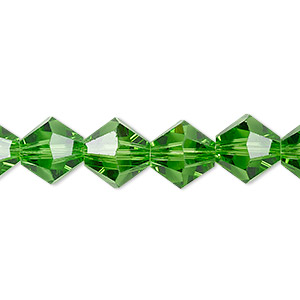 Bead, Celestial Crystal®, Transparent Green, 10mm Faceted Bicone. Sold Per 8-inch Strand, Approximately 20 Beads A2674GL