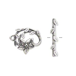 Clasp, JBB Findings, Toggle, Antique Silver-plated Brass, 16x15mm Fancy Flower Vine. Sold Individually 8389/8390BRASP