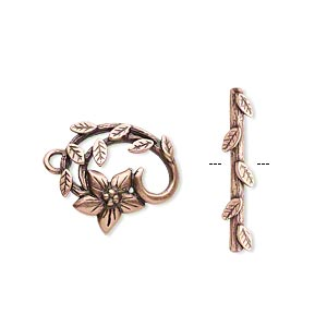 Clasp, JBB Findings, Toggle, Antique Copper-plated Brass, 16x15mm Fancy Flower Vine. Sold Individually 8389/8390BRACO