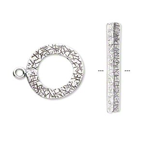 Clasp, JBB Findings, Toggle, Antique Silver-plated Brass, 18mm Textured Curved Round. Sold Individually 8417/8418BRASP