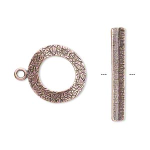 Clasp, JBB Findings, Toggle, Antique Copper-plated Brass, 18mm Textured Curved Round. Sold Individually 8417/8418BRACO
