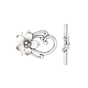 Clasp, JBB Findings, Toggle, Antique Silver-plated Brass, 20x14mm Flower. Sold Individually 8419/8420BRASP
