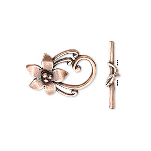 Clasp, JBB Findings, Toggle, Antique Copper-plated Brass, 20x14mm Flower. Sold Individually 8419/8420BRACO