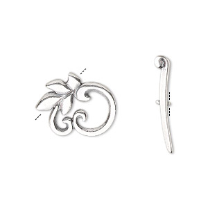 Clasp, JBB Findings, Toggle, Antique Silver-plated Brass, 16x14mm Round Leaf. Sold Individually 8421/8422BRASP