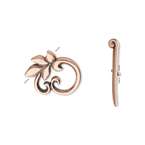 Clasp, JBB Findings, Toggle, Antique Copper-plated Brass, 16x14mm Round Leaf. Sold Individually 8421/8422BRACO