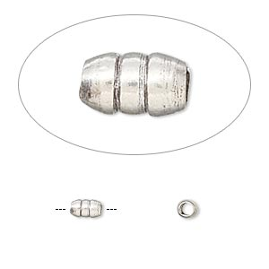 Bead, Hill Tribes, Antiqued Fine Silver, 5x3mm Ribbed Capsule. Sold Per Pkg 4