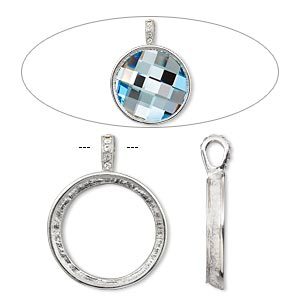 Pendant Settings Imitation rhodium-plated Silver Colored