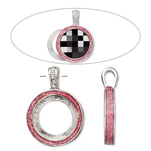 Pendant Settings Imitation rhodium-finished Pinks