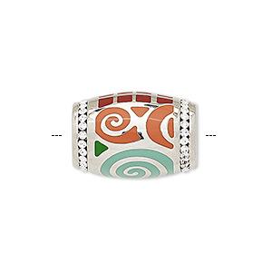 Bead, Enamel / Czech Glass Rhinestone / Imitation Rhodium-plated Brass, Multicolored, 20x14mm Barrel Geometric Design. Sold Individually